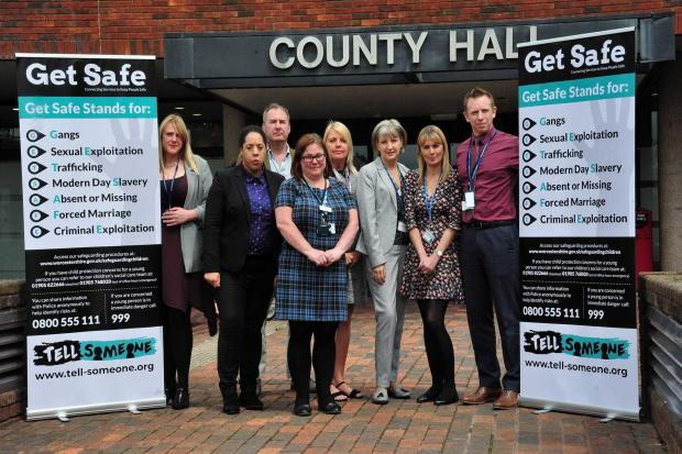 Detective Inspector Chris Watson (far right), with partner at the launch of the Get Safe campaign at County Hall, Worcester. From the left: Debbie Stokes, Ammanda Walsh, Paul Kinsella, Sarah Dempsey, Denise Hannibal, Juliet Wear, Sam Dixon and DI Watson.