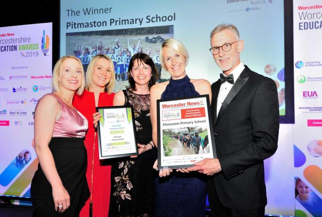 Worcester Bosch CEO Carl Arntzen presents the award to the team Pitmaston Primary School at the Worcester News Worcestershire Education Awards 2019, held at the University of Worcester Arena. Pic Jonathan Barry 20.6.19.