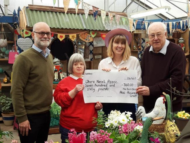 Mathew Gilbert CEO of Where Next, Elizabeth Hailstone, Louise Croxton from ACE, and John Williams life president of Where Next earlier this year with a cheque from ACE Rowney Green