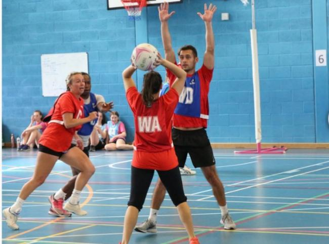 Mixed netball action. Picture: LEAGUES4YOU