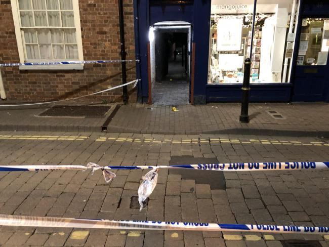 Alleyway connecting New Street to City Walls Road, where the alleged stabbing is believed to have taken place