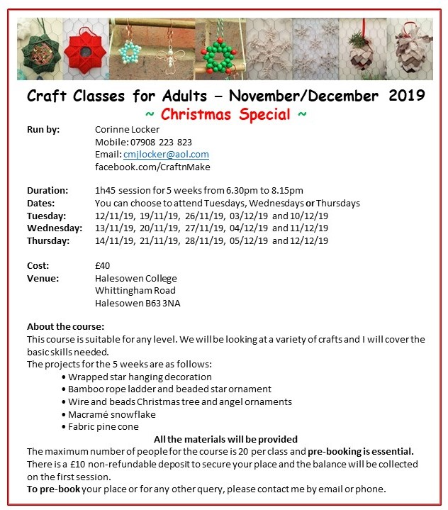 Craft Classes for Adults – November/December 2019 - Christmas Special