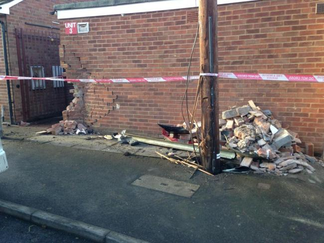 DAMAGE: Van crashes into six parked cars and into building