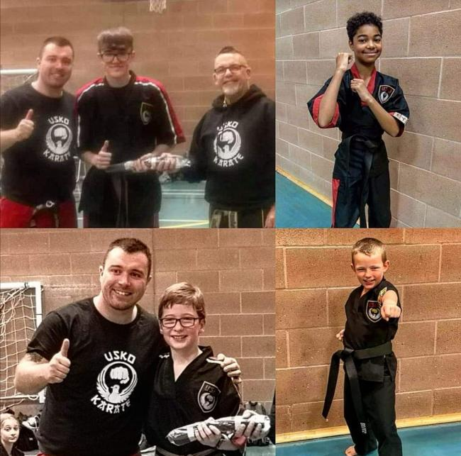Clockwise from top left: Ethan Haggit, Ollie Monk, Reece Kemp and George Davey. Picture: United Sport Karate Organisation