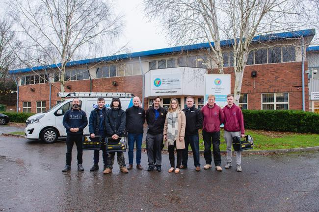 SUCCESS: Employers and apprentices benefitting from the WCAA scheme alongside representatives from Travis Perkins, Speller Metcalfe and the Heart of Worcestershire College.