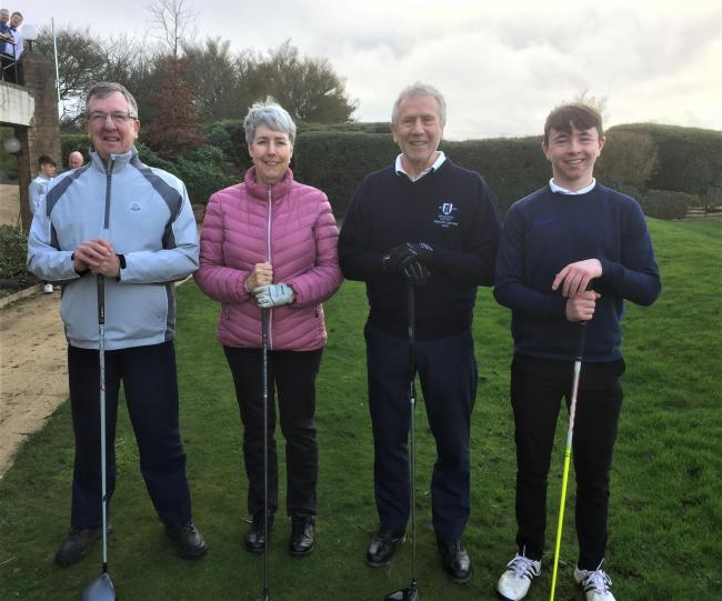 :   L – R  Club Captain, Phil Bennett;  Ladies Captain, Frances Friend; Seniors Captain, Mike Whitfield; and Juniors Captain, Sonny Nangle.