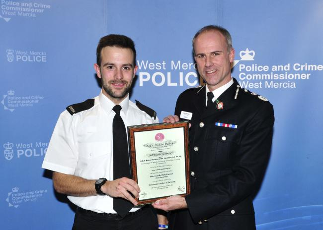 PC Michael Harrison and Chief Constable Anthony Bangham