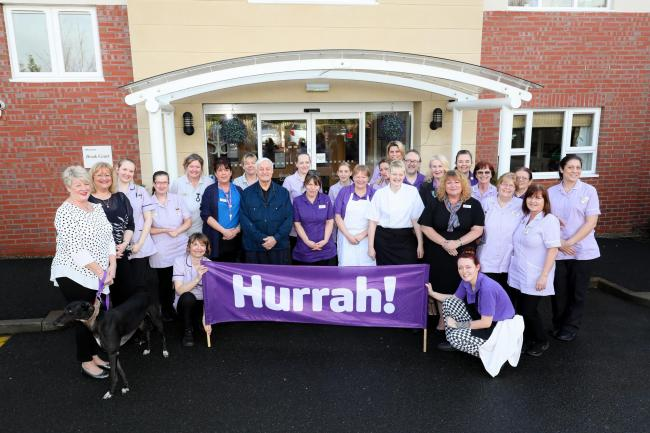 Staff at Brook Court celebrating the care home's good CQC rating. Picture by Shaun Fellows/Shine Pix Ltd
