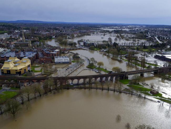 Flood water continues to surround Worcester city centre, in the aftermath of Storm Dennis. PA Photo. Picture date: Thursday February 20, 2020. Those already battling with the aftermath of several days worth of rain have been told to expect even more, with