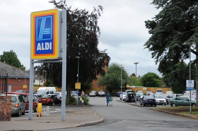 Aldi in Leominster where shoppers were queued outside this morning waiting for the store to open