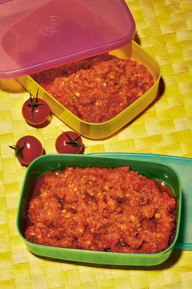 Tomato sambal from Coconut & Sambal by Lara Lee. Picture: Louise Hagger