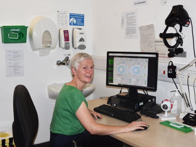 Amanda Butcher, speciality doctor for ophthalmology, using the new OpenEyes system