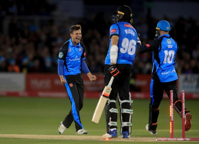 Worcestershire Rapids' Ed Barnard (left) celebrates taking the wicket of Sussex Sharks' David Wiese during the Vitality Blast T20 Quarter Final at The County Ground, Hove. PA Photo. Picture date: Friday September 6, 2019. See PA story CRICKET Suss