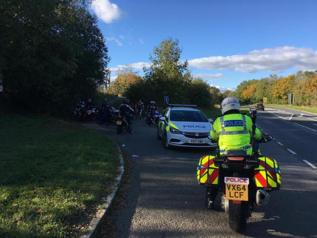 Police crack down on speeding motorcyclists on the A44