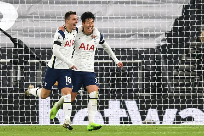 Giovani Lo Celso, left, and Son Heung-min scored for Tottenham in the win over Manchester City