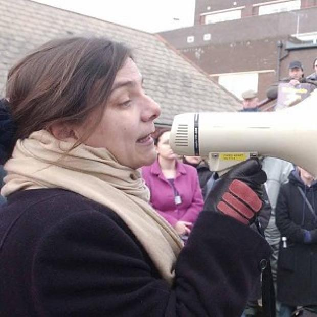 UCU General Secretary Sally Hunt, pictured during a rally in Cardiff, has warned against a rise in private univeristies