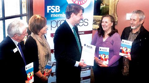 REAL LIFE: From left, Robbie Hazlehurst, of FSB; Gill Handley, of Job Centre Plus; Worcester MP Robin Walker; Caroline Fidoe and Chris Bullock, local entrepreneurs.