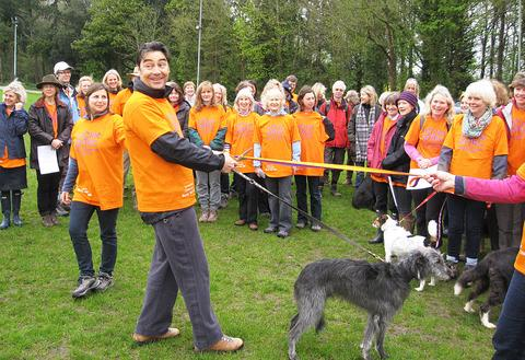 Nathaniel Parker with some of the walkers for local charity Homestart.