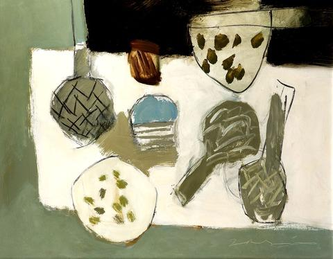 Tableau Vivant (Artichokes) by David Ralph Simpson, one of 50 paintings to be exhibited in Moreton.