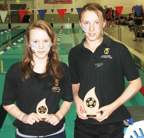Tewkesbury Swimming Club's  gold medal winners Hattie Rothwell (left) and Becky Sheppard.