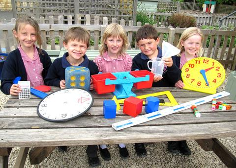 NUMBER FUN: Niamh Brookes, left, Henry Bell, Amara Bochmann, Thomas Durrell and Hannah Robbins.