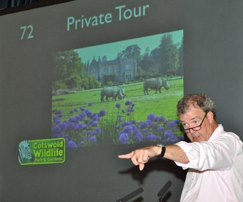 Jeremy Clarkson drumming up sales at the auction of promises in Chipping Norton. Picture by James Hawley