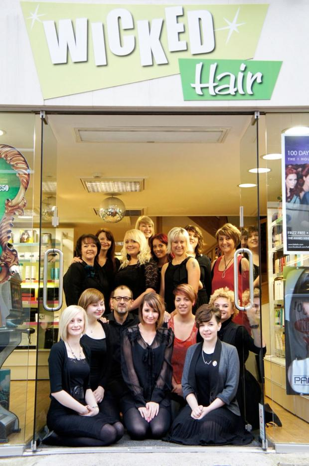 Cotswold Journal: CUTTING CREW: Staff at Wicked Hair, who are in line for a retail salon of the year award.