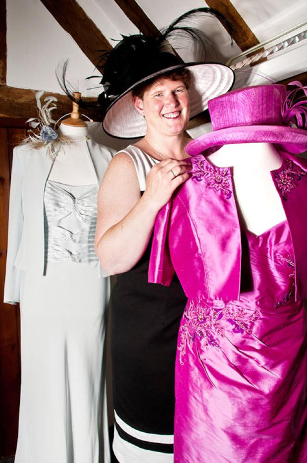 PRETTY IN PINK: Kirsten Dowty with some of her fashions.