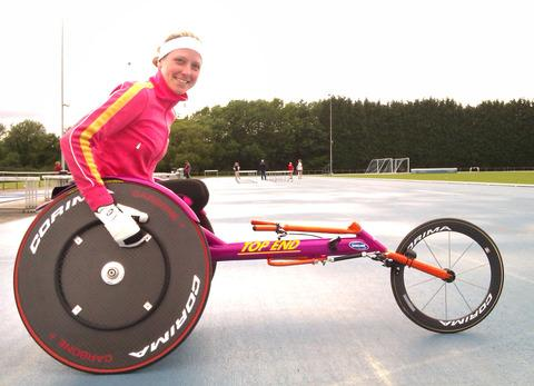 ALL SET FOR THE GAMES: Paralympic wheelchair athlete Mel Nicholls starts her campaign tomorrow in the 100m race.