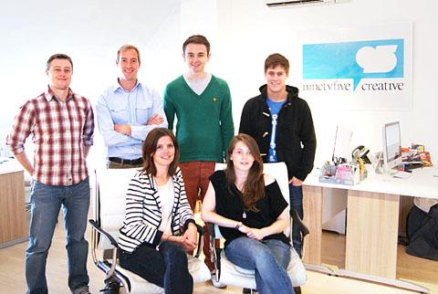 NEW OFFICE: The NinetyFive Creative team. Back from left: Ben Barnes, creative director; Matt Lloyd, managing director; Matt Brettell, apprentice; Nic Jennings, web designer. Front: Amy Bayliss, marketing manager, and Imogen Williams, graphic designer.