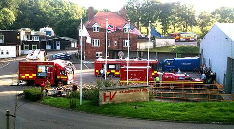SCENE: Fire crews at the Hollingsworth and Vose factory, near Winchcombe, on Saturday.