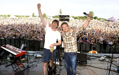 DOUBLE ACT: Alex James and Jamie Oliver on stage during the weekend event.