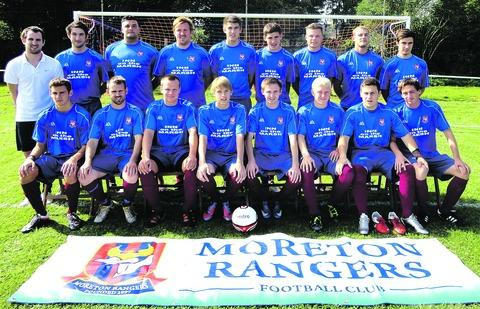 LINING UP: Moreton Rangers Reserves pose in their new training shirts.