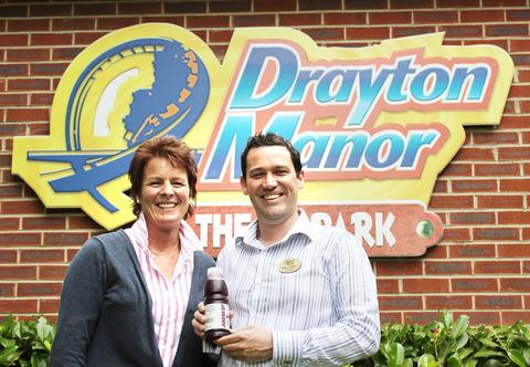 VOTE: Bensons sales director Tracy Formby and Drayton Manor catering manager Mark Tierney with a bottle of Joosed!, which was voted best drink by theme park visitors
