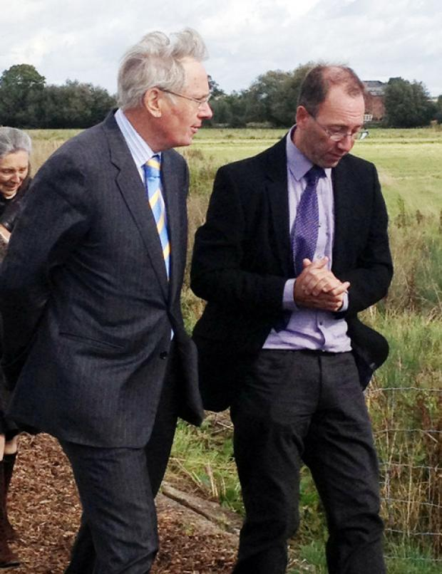 The Duke of Gloucester with Jim Burgin of Wychavon District Council during his visit to Avon Meadows in Pershore.