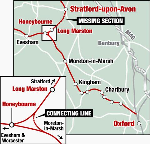 ON TRACK: A map showing the section of the rail line that could be reinststed.