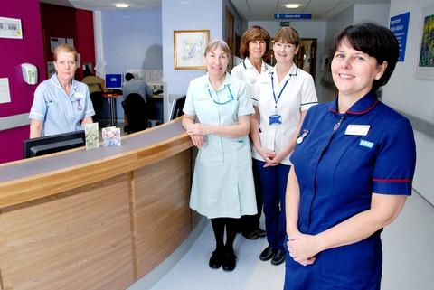 North Cotswold Hospital staff, from left, staff nurse Hazel Faulkner, healthcare assistant Lesley Pye, occupational therapist Alison Hinton, physiotherapist Sandra Logue and matron Linda Edwards.