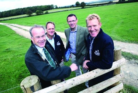 TOUR: RABI chief executive Paul Burrows (left) and Lloyds Banking Group's director of agriculture Gareth Oakley (second right) with farmers Duncan Andrews and Adam Henson (right).
