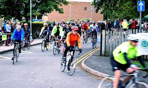 AND THEY'RE OFF: Dozens of cyclists taking part in the Shipston Cycle Challenge