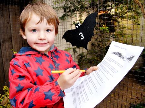 BAT'LL DO NICELY: Louis Bacon, aged four, tries his hand at the Bird Myths and Legends quiz at Birdland in Bourton-on-the-Water.