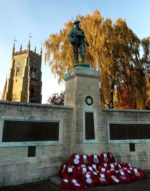 LEST WE FORGET: This poignant picture of Evesham's War Memorial – with the Bell Tower catching rays of bright November sunshine in the background – was sent to us by reader Sheila Reed.