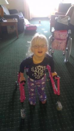 HOME: Molly Grove has been taken her first steps since her return from an operation in the US.