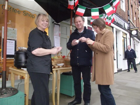 Lesley O'Brien from the Bay Tree Street serving up homemade soup and delicious pasta e fagioli with pugliese and focaccia from the pavement outside her shop in Church Street