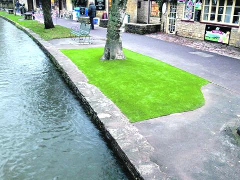 ARTIFICIAL: The patch of fake grass in the centre of Bourton-on-the-Water.