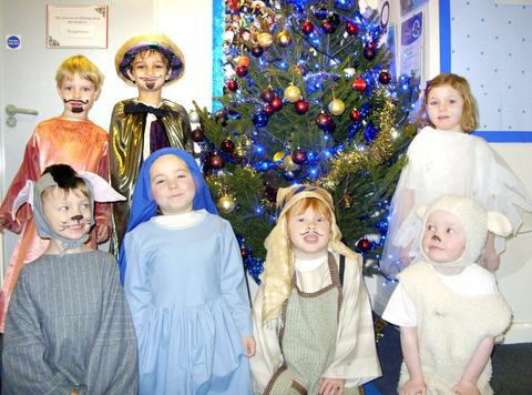 NATIVITY: Back row, Dominic Luff, Jack Mackinnon-Little, Ebony Dean-Brown. Front row, Oliver Golton, Ameya Bowater, Billy West and Oscar Aspey.