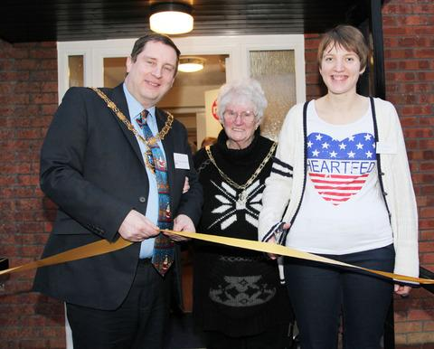 HOLIDAY HOME: Mayor of Evesham Coun Robert Raphael and mayoress Coun Diana Rapheal with Mencap customer Ruth Daniell at the opening of Ash Grove in Evesham.