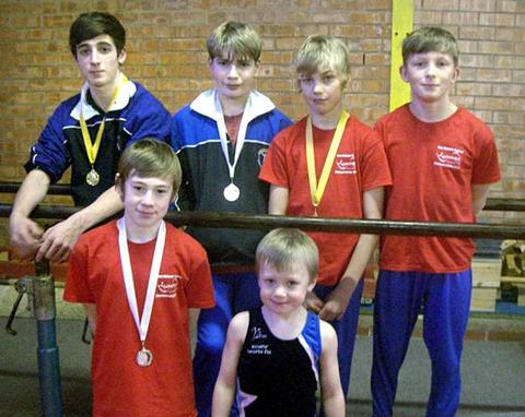 SUCCESSFUL GYMNASTS: The Evesham boys line up, back row (left to right): Charlie Lucas (gold), Matt Smith (silver), James Hall (gold) and Freddie Armstrong. Front: Callum Braathen (silver) and Noah Spencer. Picture supplied by Paul Braathen.