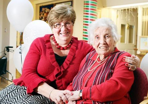 CONGRATULATIONS MUM: Win Huxley celebrates her 103rd birthday with daughter Pat Stanton at Yates Court in Evesham. Picture by Victoria Jones, Thousand Word Media.