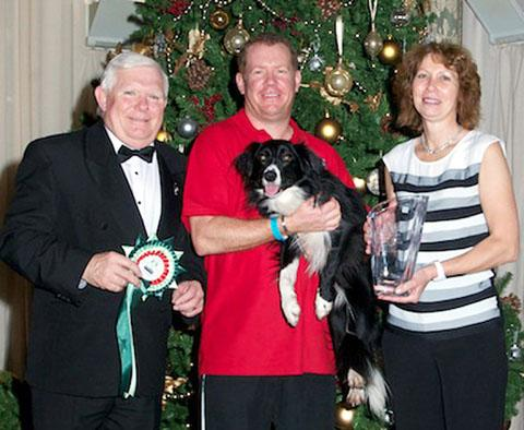 JUST CHAMPION: Winner Greg Derrett, centre, with his border collie Rehab, pictured with Dave Ray and Amanda Rodgers. Picture: WattsPhotography.co.uk
