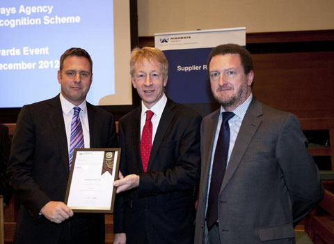 AWARDS: Andy Milner, managing director for Consulting at Amey, with Highways Agency chief executive Graham Dalton and Amey account director Scott Millar at the ceremony.